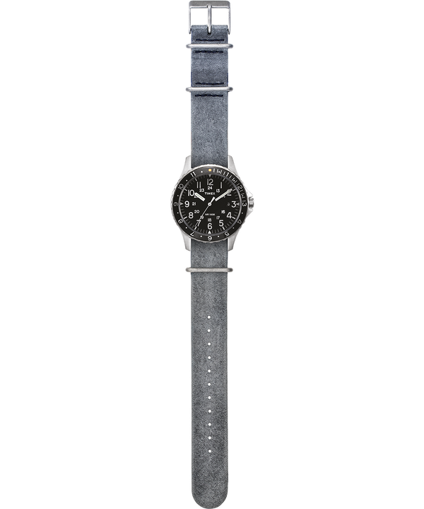 Navi Ocean 38mm Stonewashed Leather Strap Watch Stainless-Steel/Gray/Black large