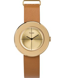 Variety 34mm Leather Strap Watch Gold-Tone/Tan large