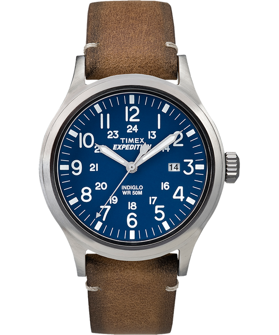 Expedition Scout 40mm Leather Watch Silver-Tone/Tan/Blue (large)