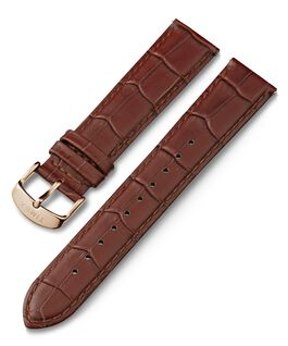 20mm Crocodile Pattern Quick Release Leather Strap Brown large