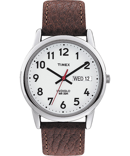 Easy Reader 35mm Leather Watch With Day Date Timex