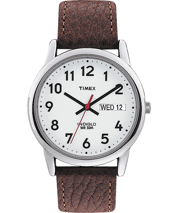 Easy Reader Day Date 35mm Leather Strap Watch Silver-Tone/Brown/White large