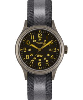 Allied 40mm Reflective and Reversible Fabric Strap Watch Gold-Tone/Black large