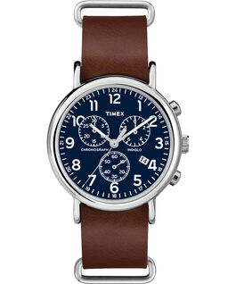 Weekender Chrono 40mm Dark Leather Watch Silver-Tone/Tan/Blue large
