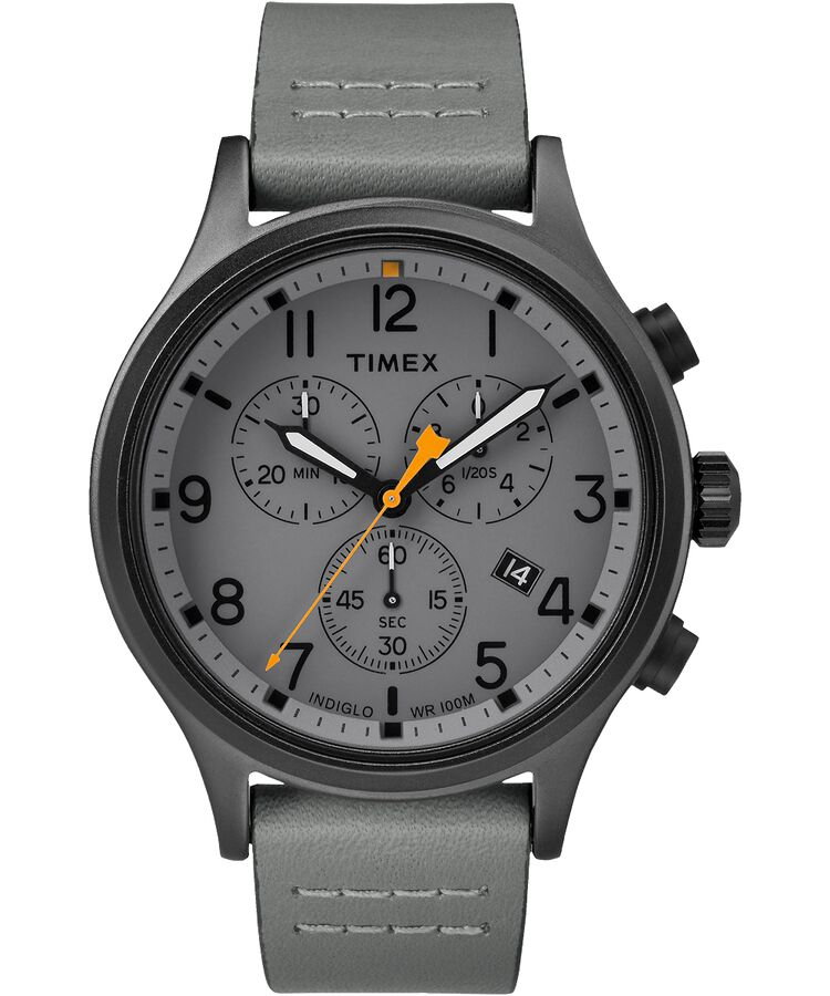 Allied Chronograph 42mm Leather Strap Watch