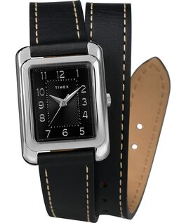Addison 25mm Double Wrap Leather Strap Watch Chrome/Black large