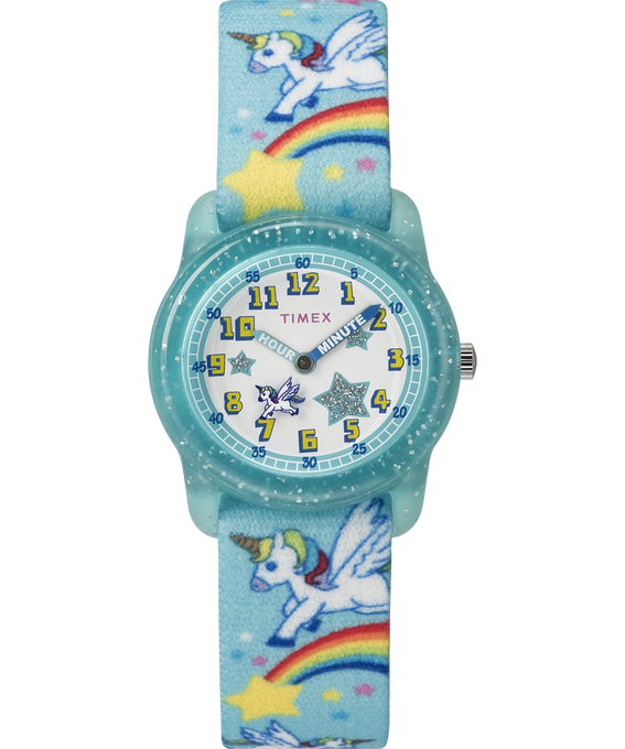 Kids Analog Strap Watch with Pattern Blue/White large