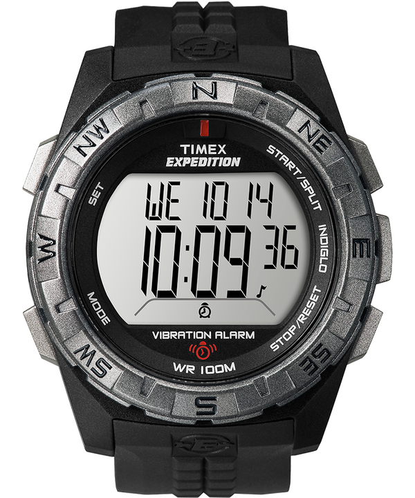 Expedition Chrono-Alarm-Timer 43mm Resin Strap Watch Black/Silver-Tone large