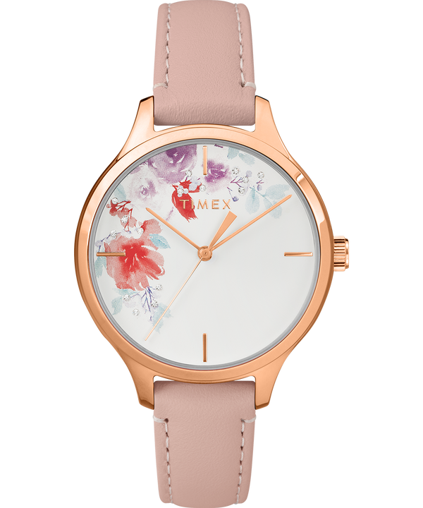 Exclusive Crystal Bloom 36mm Rose Gold Tone Leather Watch  large