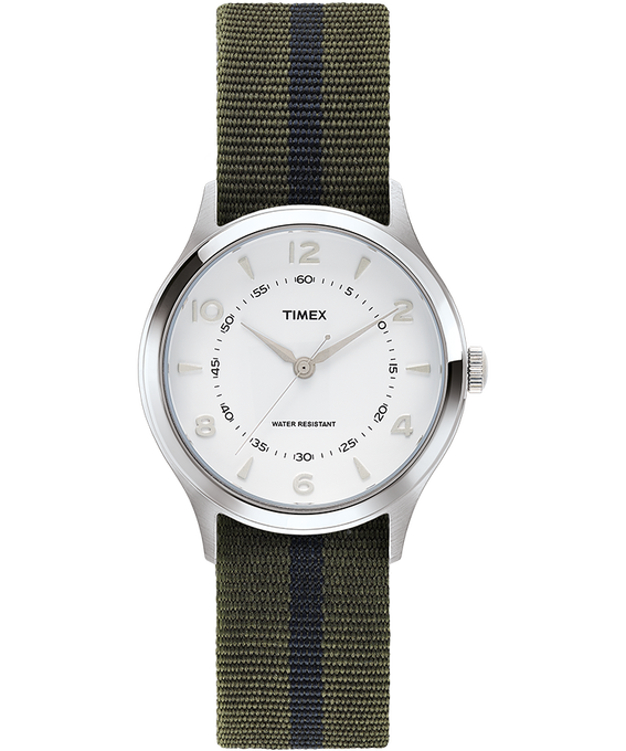 Whitney Village 38mm Grosgrain Strap with White Dial Watch Stainless-Steel/White large