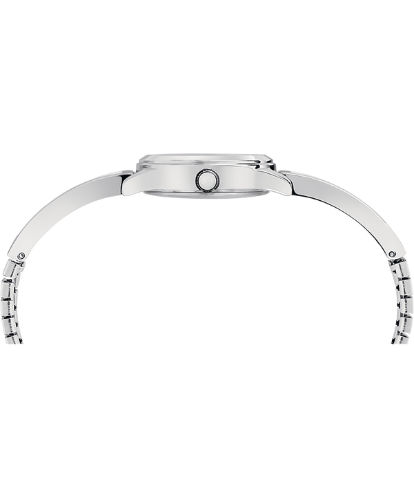 Fashion Stretch Bangle 25mm Expansion Band Watch Silver-Tone/Black large