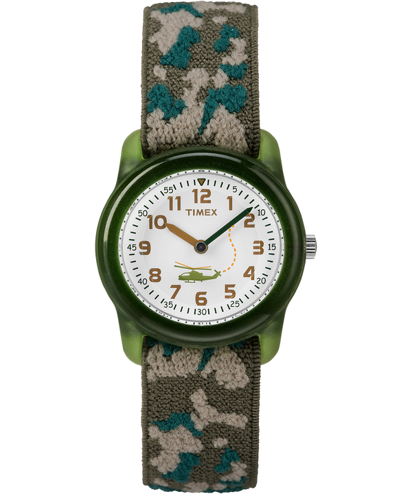 Kids Analog 29mm Elastic Fabric Strap Watch Green/White large