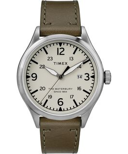 Waterbury Traditional 3 Hand Date 40mm Leather Watch Stainless-Steel/Green/Cream large