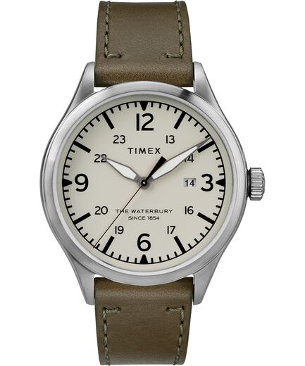 a683d8738 Waterbury Traditional 40mm Leather Strap Watch Stainless-Steel/Green/Cream  large