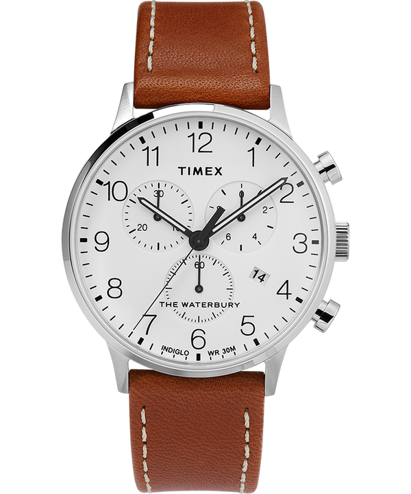 Waterbury 40mm Classic Chrono with Leather Strap Watch  large
