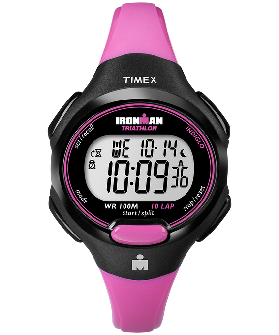 IRONMAN Essential 10 Mid-Size 34mm Colored Resin Strap Watch Black/Pink large