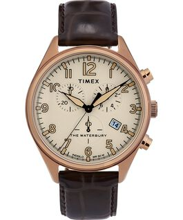 Waterbury Traditional Chronograph 3-Dial 42mm Leather Strap Watch Gold-Tone/Brown large