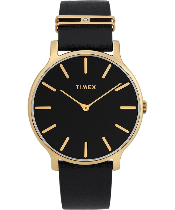 Transcend 38mm Leather Accessory Strap Watch Gold-Tone/Black large