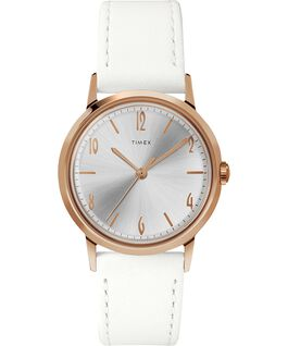 Marlin Ladies 34mm Hand-Wound Leather Strap Watch Rose-Gold-Tone/White large