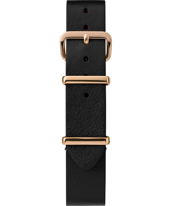 16mm Leather Slip-Thru Single Layer Strap Black large