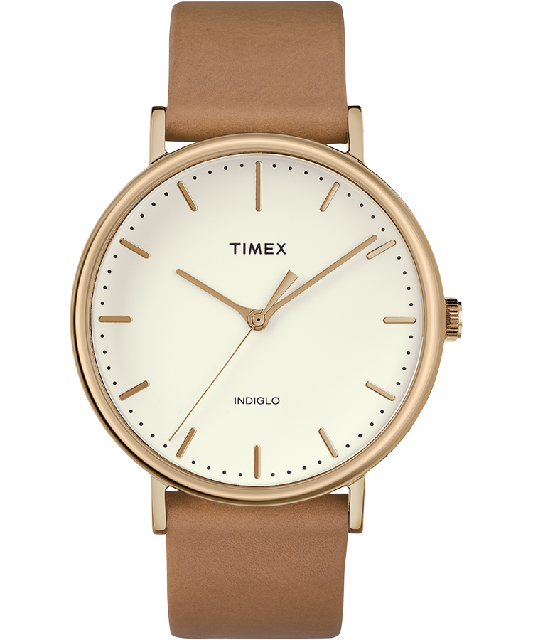 6155ad292989 Fairfield 41mm Leather Strap Watch Rose-Gold-Tone Tan Natural large