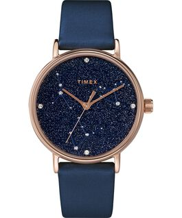 Celestial Opulence 37mm Textured Strap Watch Rose-Gold-Tone/Blue-CANCER,LEO,VIRGO large