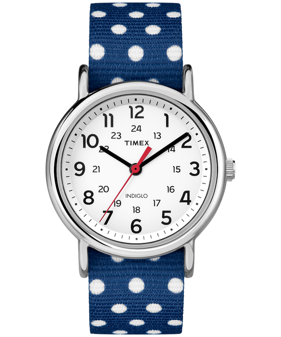 Weekender Patterns 38mm Nylon Strap Watch Silver-Tone/Blue/White (large)