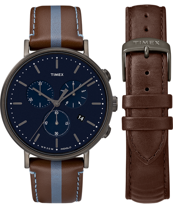 Fairfield Chronograph 41mm Brown Strap/Blue Dial Gift Set  large