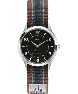 Whitney Village 36mm Reversible Grosgrain Strap Watch Stainless-Steel/Black large