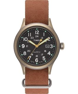 Allied 40mm Stonewashed Distressed Leather Strap Watch Bronze-Tone/Brown/Black large