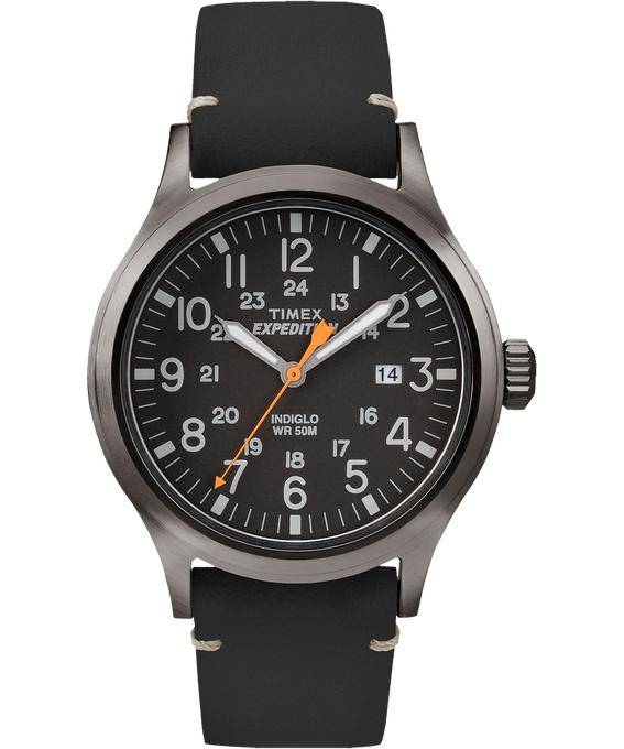 Expedition Scout 40mm Leather Watch Gray/Black (large)
