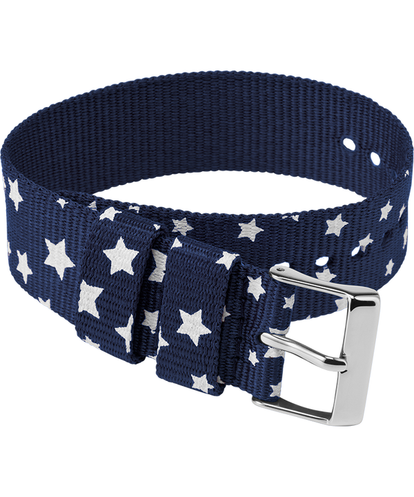 20mm Fabric Slip-Thru Single Layer Strap Blue large