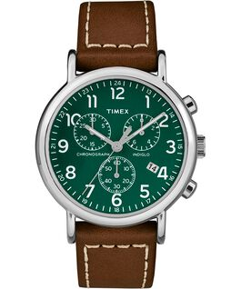 Weekender Chrono 2 Piece 40mm Leather Watch Silver-Tone/Brown/Green large