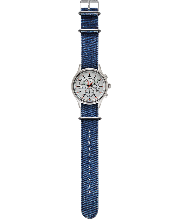 Allied Chronograph 42mm Stonewashed Denim Strap Watch Silver-Tone/Black/White large