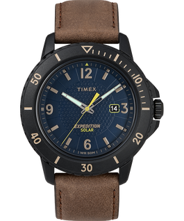 Expedition Gallatin Solar 44mm Leather Strap Watch Black/Brown/Blue large