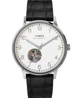 Waterbury Classic Automatic 40mm Leather Strap Watch with Open Heart Dial Stainless-Steel/Black/Silver-Tone large