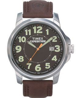 Expedition Metal Field Metal 40mm Leather Watch Silver-Tone/Brown/Black large