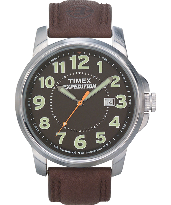 Expedition Metal Field 40mm Leather Strap Watch Silver-Tone/Brown/Black large