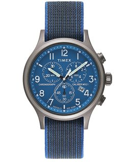 Allied Chronograph 42mm Elastic Fabric Strap Watch Blue/Blue large