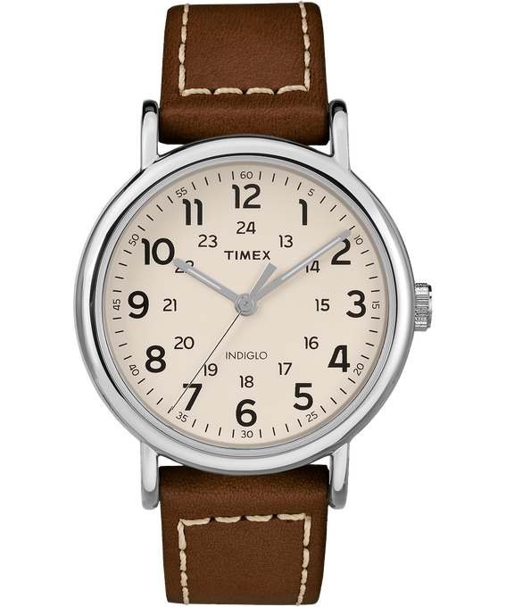 Weekender 2 Piece 40mm Leather Watch Silver-Tone/Brown/Cream (large)