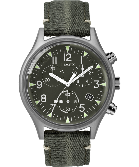 MK1 Chronograph Steel 42mm Fabric Strap Watch Stainless-Steel/Green (large)