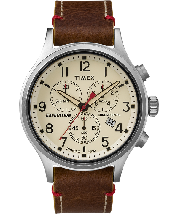 Expedition Scout Chronograph 42mm Leather Watch  large