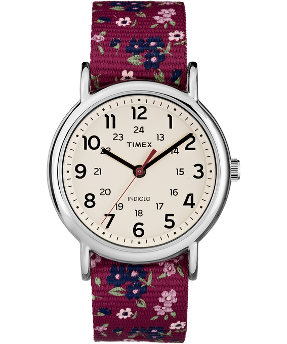 Weekender Patterns 38mm Nylon Strap Watch Chrome/Red/Cream (large)