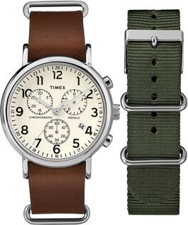 Weekender Chronograph Gift Set Chrome/Brown/Cream large