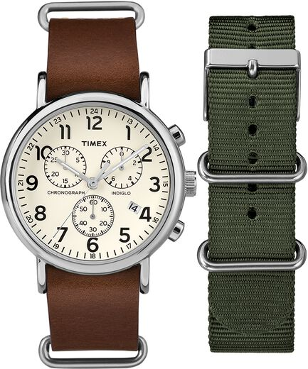 fed756b7d Weekender Chronograph 40mm Leather Strap Watch Gift Set Chrome/Brown/Cream  large