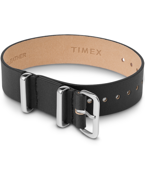 16mm Leather Single Layer Slip Thru Strap with Silver  large