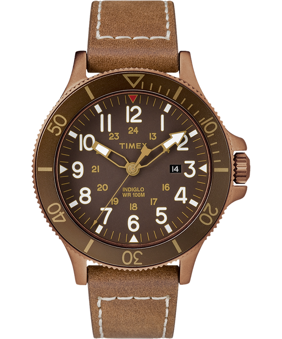 Allied Coastline 43mm Leather Watch Bronze-Tone/Brown large