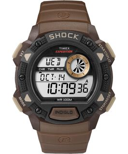 Expedition Base Shock Gauge 45mm Resin Strap Watch Brown/Black large