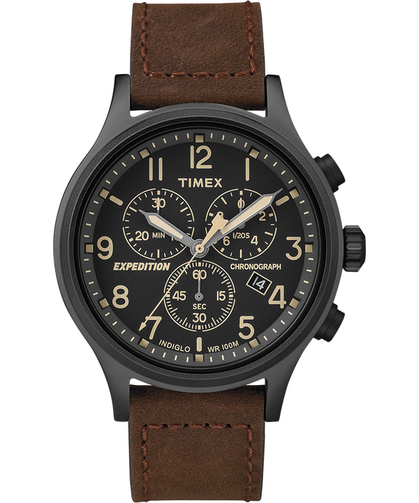 Expedition Scout Chronograph 42mm Leather Strap Watch Black/Brown large