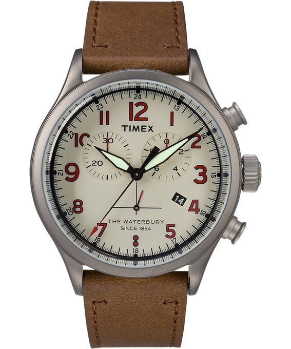 Chronograph Numbered Dial 42mm Leather Watch in Brown - Front View